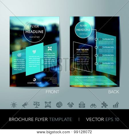Corporate Blur Background Brochure Flyer Design Layout Template In A4 Size, With Icon For Your Conte