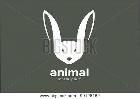 Abstract animal face logo vector template. Rabbit, wild, animal world, brand symbol, wild icon, farm. Rabbit. Animal face shape. Company logo. Premium brand or product.