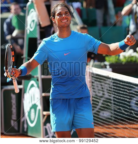 Fourteen times Grand Slam champion Rafael Nadal during second round match at Roland Garros 2015