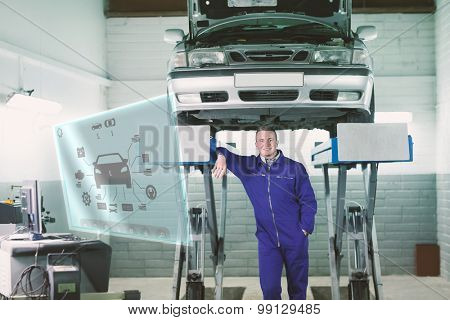 Engineering interface against smiling mechanic leaning on a machine below a car