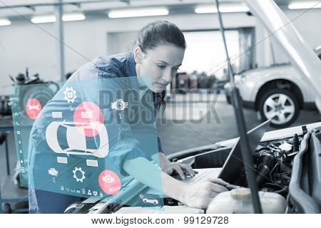 Engineering interface against mechanic using laptop on car