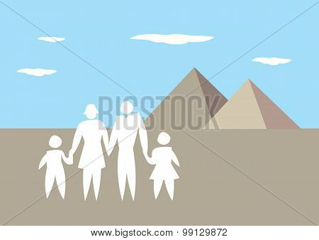 Family Vacation To Egypt Vector Illustration