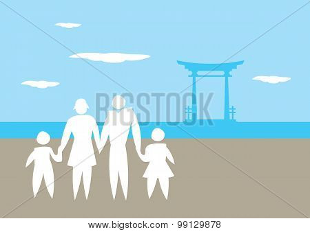 Family Vacation To Japan Vector Illustration