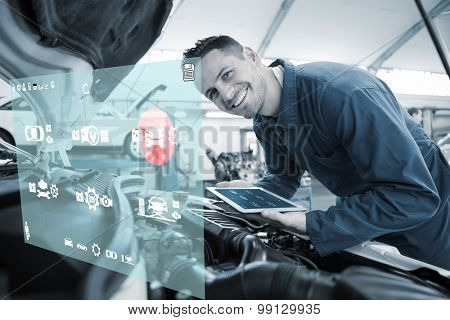 Engineering interface against mechanic using tablet on car