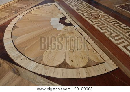 ST. PETERSBURG, RUSSIA - AUGUST 13, 2015: Flooring in the restored interiors of the Marble Palace. Built in 1768-1785 by design of Antonio Rinaldi, now the palace is the department of Russian Museum