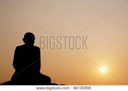 Thai Monk Statue In Meditation
