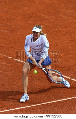 Five times Grand Slam champion Maria Sharapova during first round match at Roland Garros 2015