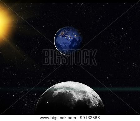 View on earth from moon. Elements of this image furnished by NASA