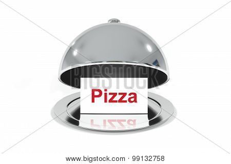 Open Silver Cloche With White Sign Pizza