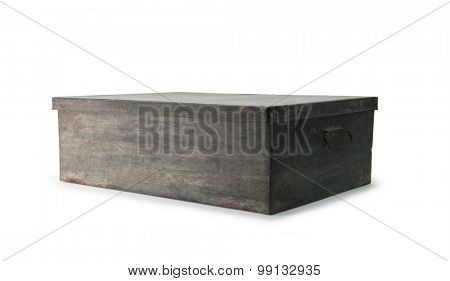 Very old iron or tin metal storage trunk or box with handle, isolated on white.