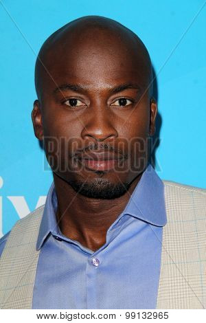 LOS ANGELES - AUG 13:  Akbar Gbaja-Biamila at the NBCUniversal 2015 TCA Summer Press Tour at the Beverly Hilton Hotel on August 13, 2015 in Beverly Hills, CA