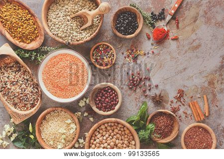 Assortment of legumes, grain and seeds