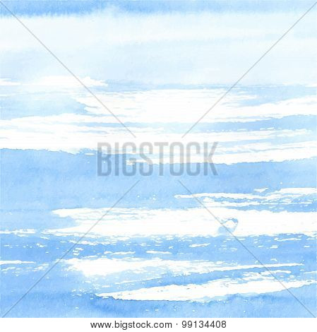 Watercolor sea or sky background