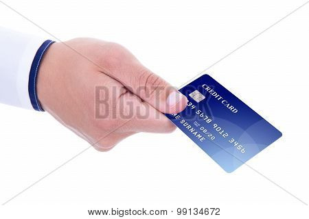 Male Hand Giving Credit Card Isolated On White