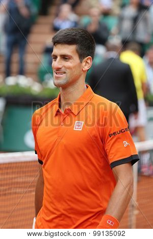 Eight times Grand Slam champion Novak Djokovic during second round match at Roland Garros 2015