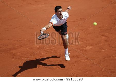 Eight times Grand Slam champion Novak Djokovic during third round match at Roland Garros 2015