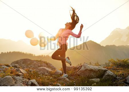 A Girl Dancing At Sunrise On Artist Point, Mt. Baker, Washington