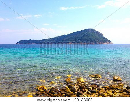 Idyllic Greek Island Background On The Mediterranean Sea