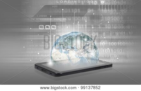 Mobile internet concept with mobile phone and digital planet. Elements of this image are furnished by NASA