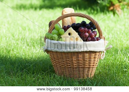 Outdoor picnic basket with bread, cheese and grape on green lawn