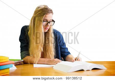 Student studying in the library against white background with vignette