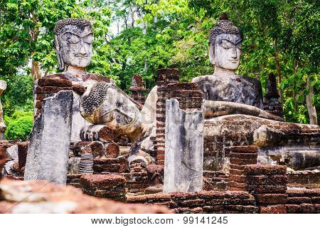 The ruin of the temple Wat Phra Kaeo in Kamphaeng Phet Historical Park,Thailand. large royal temple