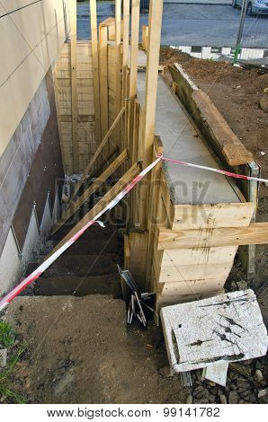 New Base Foundation Near House Construction
