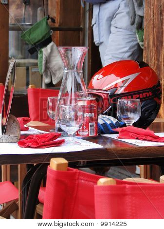 Skiers Rehydrate After A Long Morning Of Skiing