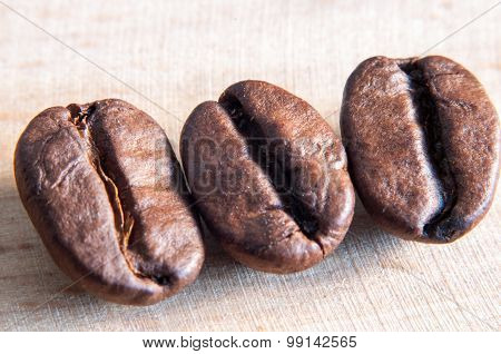 Closeup of coffee beans with selective focus