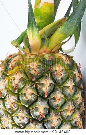 Ripe whole pineapple isolated on white background