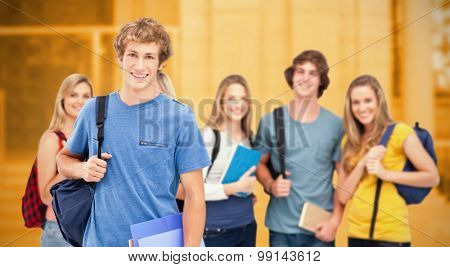Composite image of a group of smiling college students look into the camera as one man stands in front