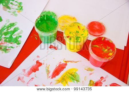 Finger Paints In Bright Colors