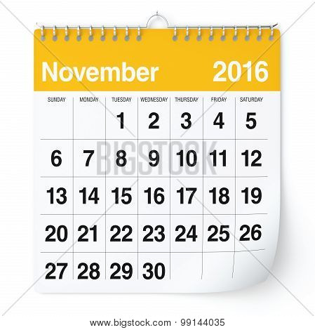 November 2016 - Calendar.