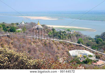 Sagaing Hill And Ayeyarwaddy River In Northern Of Myanmar Near Mandalay.