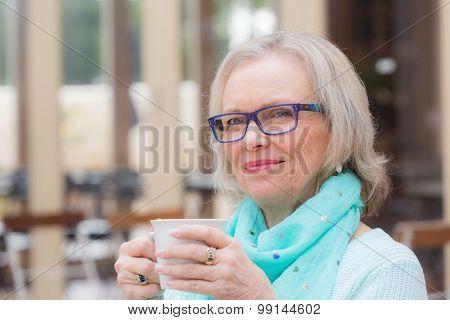 Older woman coffee