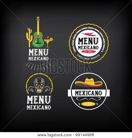 Menu mexican logo and badge design.Vector with graphic.