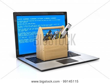 Concept Of  Technical Service And Repair Computer. Wooden Box With Tools At The Keyboard Notebook On