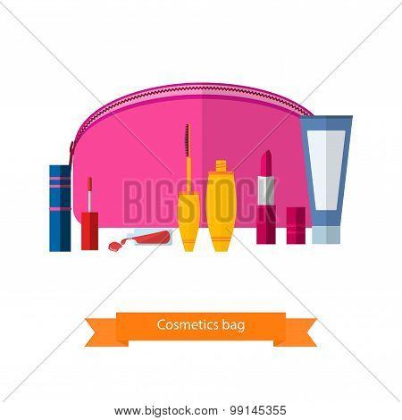 The Vector Pink Handbag For Cosmetics.