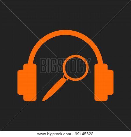 Orange music search sign on black