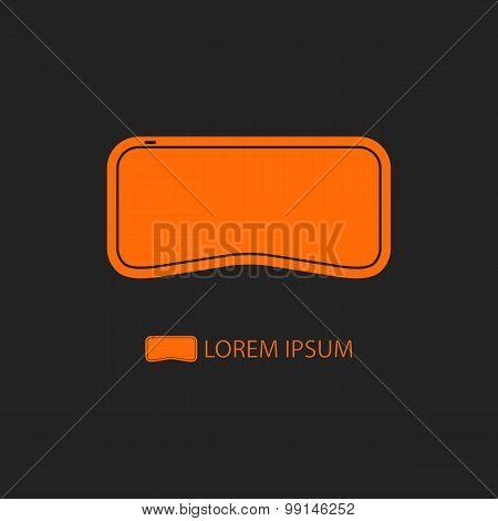 Orange VR-glasses as virtual reality logo on black
