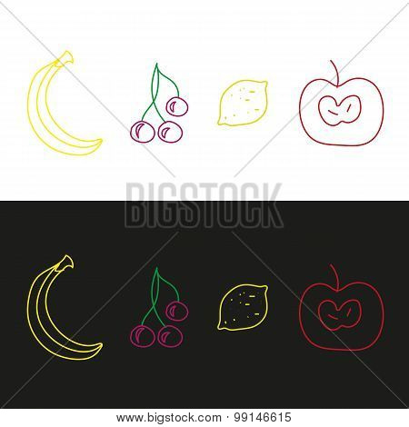 Apple, Cherry, Lemon And Banana. Fruits