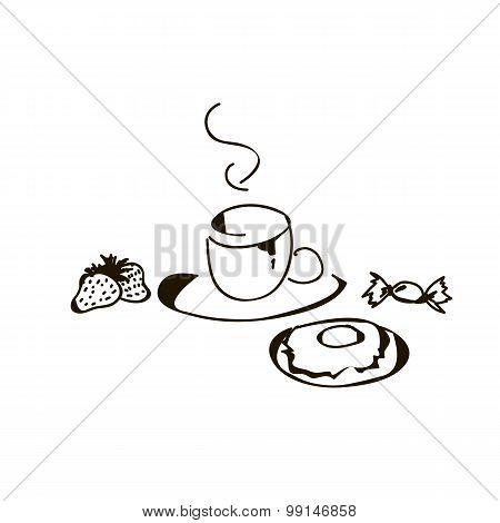 Breakfast - Tea, Strawbwerry, Candy, Donut