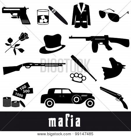 Mafia Criminal Black Symbols And Icons Set Eps10