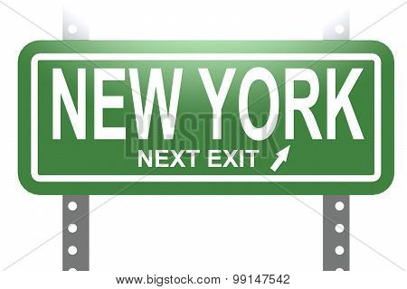 New York Green Sign Board Isolated