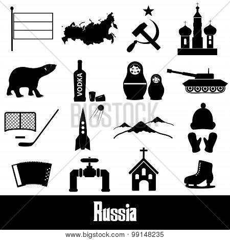 Russia Country Theme Symbols Stickers Set Eps10