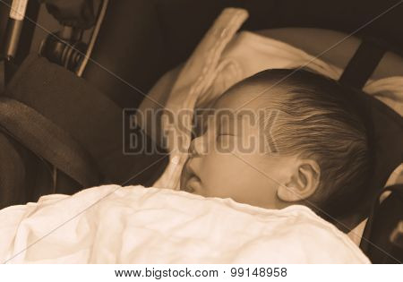 Asian Thai Baby Sleeping On Stroller Sepia