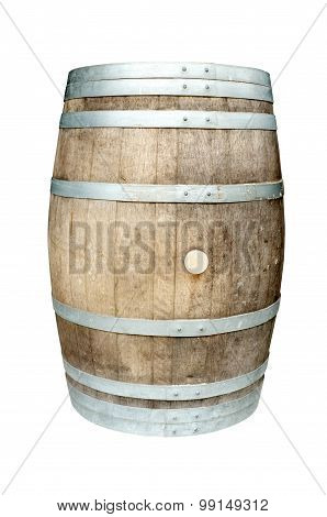 Old wooden barrel with iron rings