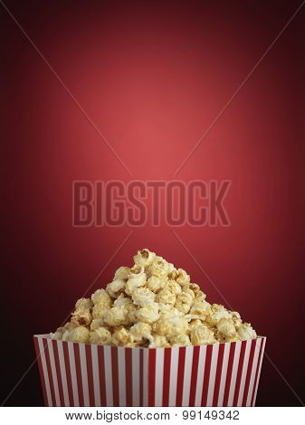 Popcorn Cinema Style On Red - Stock Image