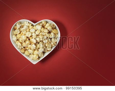 Popcorn Heart Love Cinema - Stock Image