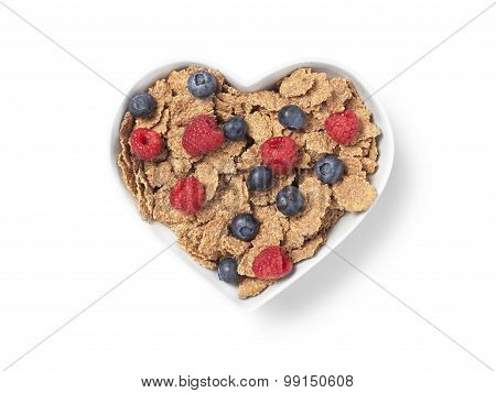 Heart Shaped Bran Cereal Berries - Stock Image